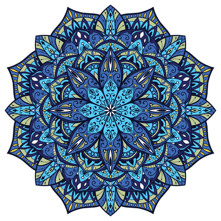 Vector, ornate mandala, with intricate detail. Stained glass in blue colors. Oriental element of decor.