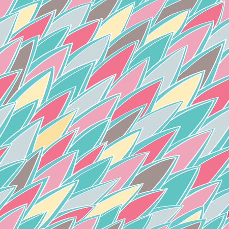 Seamless vector background with abstract ornament.  Stylized  needle. Vintage pattern in pink and turquoise tones. Illustration