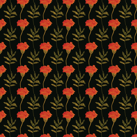 calendula: Seamless vector floral pattern. Watercolor marigolds on a dark background.