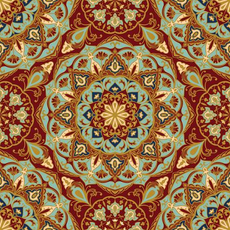 Naadloos, bloemen, sier achtergrond. Oosten, oud ornament met gouden lijnen. Sjabloon voor het doek. Gestileerde middeleeuwse mozaïeken. Oriental, helder, rijk patroon in klassieke kleuren. Stock Illustratie