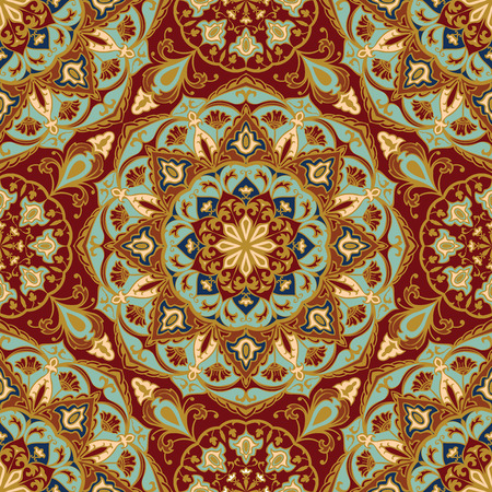 Seamless, floral, ornamental background. East, old ornament with golden lines. Template for cloth. Stylized medieval mosaics. Oriental, bright, rich pattern in classic colors. Illustration