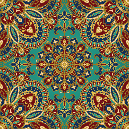 baroque ornament: Seamless vector colorful pattern. East ornament with gold contour and colorful details on the turquoise background. Tracery of mandalas for textile.
