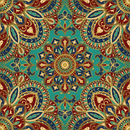 bordados: Seamless vector patrón de colores. Ornamento del este con el contorno de oro y detalles de colores en el fondo de la turquesa. Tracería de mandalas para textil.