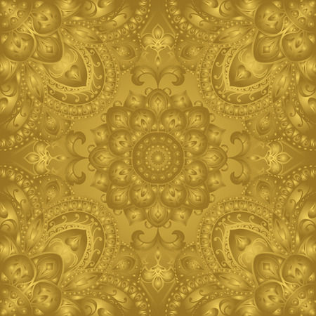 founding: Vector seamless background with metal texture. East, stylized, gold ornament. Rich, ornate pattern of mandalas. Print for fabric. Illustration