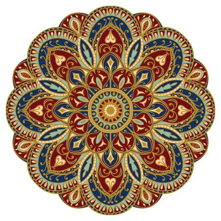 medieval: Adornado, mandala oriental con contorno de oro. Vector, redondo, ornamento colorido aislado en un fondo blanco.