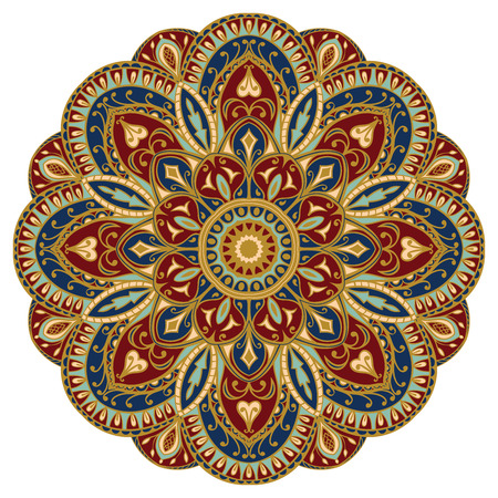 baroque ornament: Ornate, eastern mandala with golden contour. Vector, round, colorful ornament isolated on a white background.