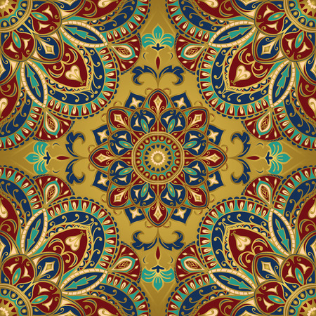 Seamless vector colorful pattern. East ornament with gold contour and colorful details on the golden background. Tracery of mandalas for any surface.