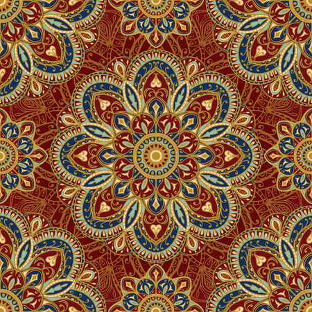 medieval: Oriental, rich pattern in bright colors. Seamless, floral, ornate background. East, old ornament with golden lines. Template for cloth. Stylized medieval mosaics.