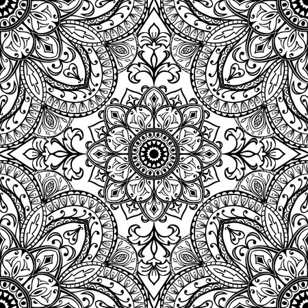 Stylized, medieval, floral ornament. Vector, oriental seamless pattern. Sketch for fabric printed cloth. Detailed tracery of black elegant lines on a white background.