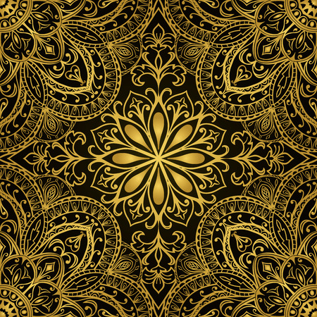 Rich gold ornaments on a black background. Vector seamless ornate oriental pattern. Template for fabric.