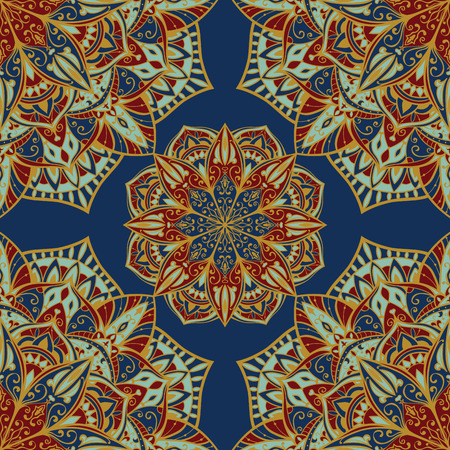 oriental rug: Oriental colorful ornament with gold contours. Seamless vector ornate background. Delicate pattern of mandalas. Template for rug. Illustration