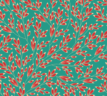 twigs: Stylized branch with barberry. Seamless vector turquoise background with twigs. Illustration