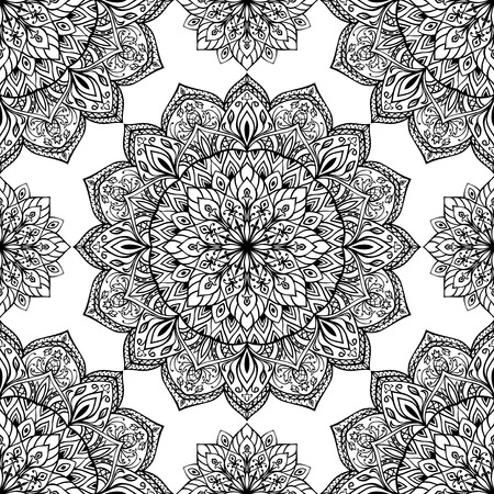 The template for the surface. Seamless vector background with intricate ornaments. Oriental pattern of mandalas.