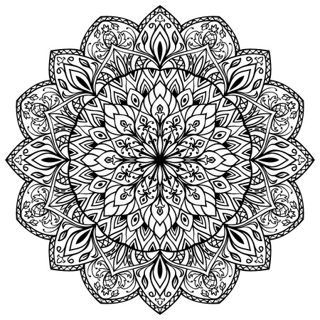 fine detail: Hand-drawn mandala with fine detail isolated on white background. East vector round ornament.