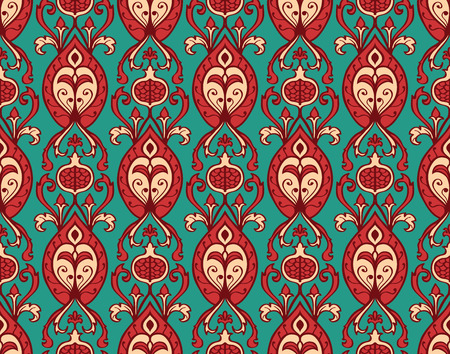 pomegranate: Oriental, bright, vintage pattern with pomegranates. Vector seamless ornament of ornate elements on a turquoise background. Old-fashioned wallpaper. Template for the fabric.