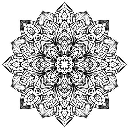 Vector graphic mandala isolé sur fond blanc. Les éléments stylisés de l'architecture gothique. Croquis de tatouage. Banque d'images - 43835269