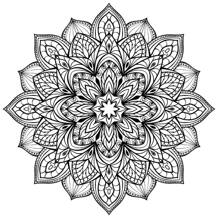 Vector graphic mandala isolated on white background. The stylized elements of Gothic architecture. Sketch of tattoo. Ilustração