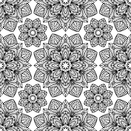 east indian: Seamless oriental pattern of black mandalas on a white background. Vector ornament of stylized floral elements. Template for wrapping paper Illustration