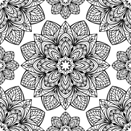 Seamless oriental pattern of round black elements on a white background.