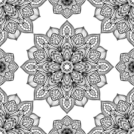 Seamless, eastern, graphic pattern of mandalas on a white background.