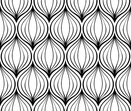 onion:  Seamless simple pattern of black elements on a white background. Stylized onions.