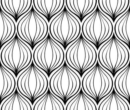 cebolla: Sin fisuras patrón simple de elementos negras sobre un fondo blanco. cebollas estilizadas.