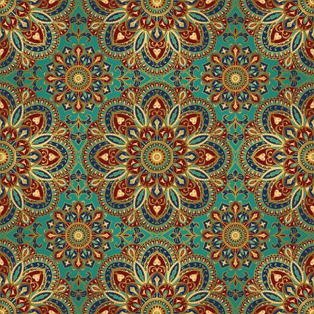 East ornament met goud contour en kleurrijke details over de turquoise achtergrond. Tracery van mandala's voor textiel.