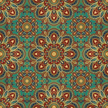 baroque wallpaper:  East ornament with gold contour and colorful details on the turquoise background. Tracery of mandalas for textile.