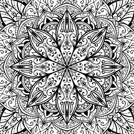 Elegant, nahtlose, Vektor-Abdeckung mit orientalischen Ornamenten von Mandalas auf einem weißen Hintergrund. Sketch-Muster für Teppich. Standard-Bild - 43835478