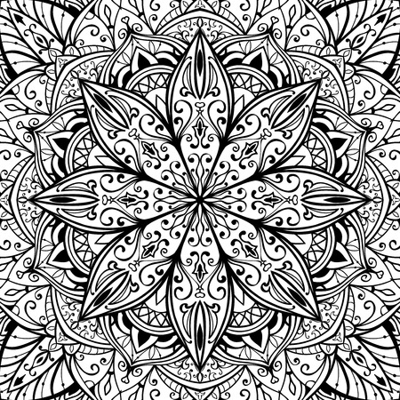 oriental rug: Elegant, seamless, vector cover with oriental ornaments of mandalas on a white background. Sketch pattern for rug.