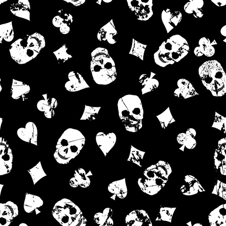 metropolitan: Grunge, seamless, vector background with suits of playing cards and skulls.