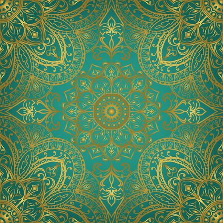 青緑色の背景に豊かな金の装飾品。