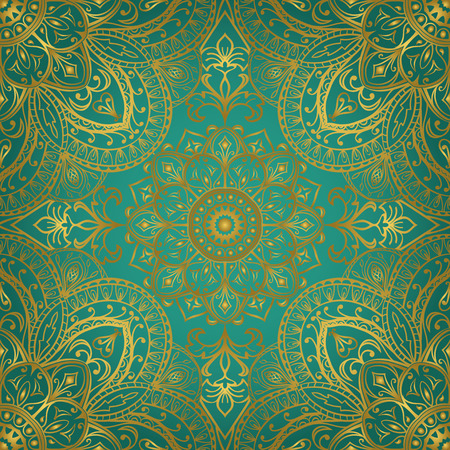 Rich gold ornaments on a turquoise background.