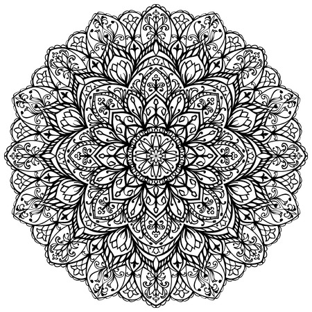 mandala vector: Vector, ornate mandala isolated on white background. Sketch of tattoo. The pattern for embroidery. Illustration