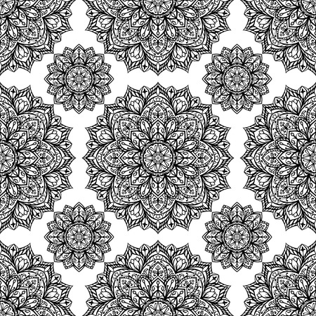 east indian: Elegant, seamless, vector background with oriental ornaments of mandalas on a white background. Sketch pattern for fabric Template for textiles. Sketch embroidery carpet. Illustration