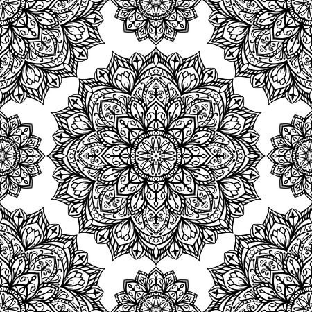 Seamless oriental pattern of round black decorations on a white background. Vector pattern of filigree mandalas symmetrically located. Template for textiles.