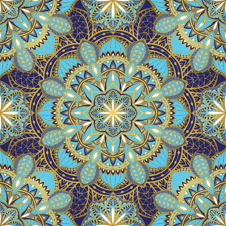 Stylized oriental ornament in blue tones with gold border. Seamless, vector, bright, ornate pattern with mandalas. Template for textiles.