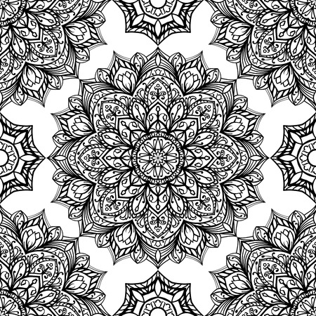 tapestry: Seamless, eastern, graphic pattern of mandalas on a white  background. Vector floral ornament. Template for tapestry.