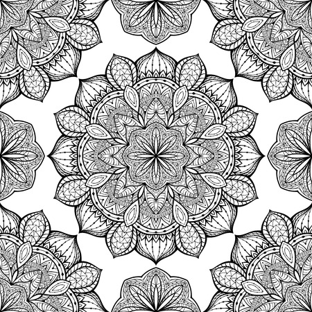 Stylized, oriental ornament with black border. Seamless, vector, ornate pattern with mandalas. Template for any surface. Ilustração