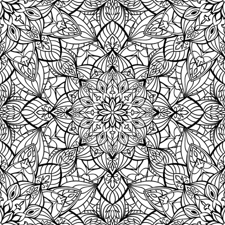 east indian: Seamless oriental medieval ornament. Vector pattern of graceful elements. Template for any surface.