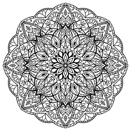 Geometric mandala of black lines on a white background. Stylized round design element. Vector circular ornament.