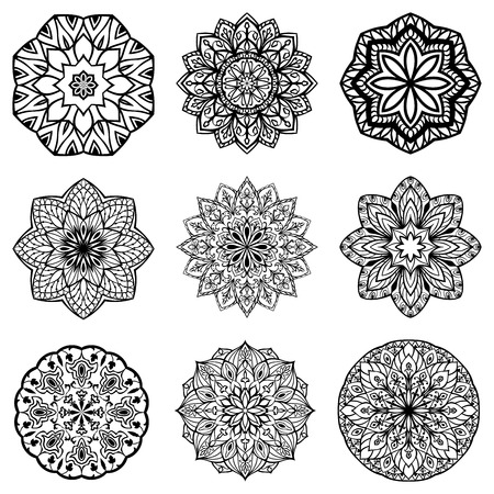 Set of mandalas. Collection of stylized stars and snowflakes. Vector round ethnic ornaments. Template for embroidery.  Sketches for tattoo.