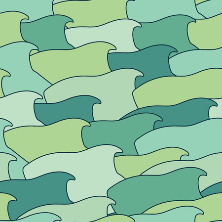 celadon green: Abstract background of stylized fish swimming in one direction. Vector simple, seamless pattern. Illustration