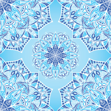 bedding: Elegant winter background with stylized snowflakes. Vector seamless oriental ornament in blue tones. Bright ornate pattern for bedding.