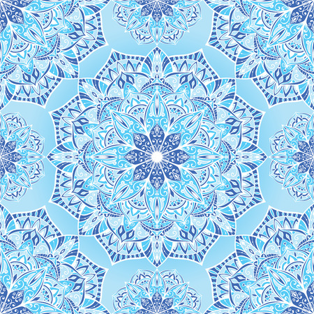 bedding: Delicate stylized winter background with mandalas. Vector seamless oriental ornament in blue tones. Bright ornate pattern for bedding. Illustration