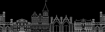 old city: Seamless pattern with German architectural monuments of Prussia. Vector, contour, building on a black background. Template for any surface.