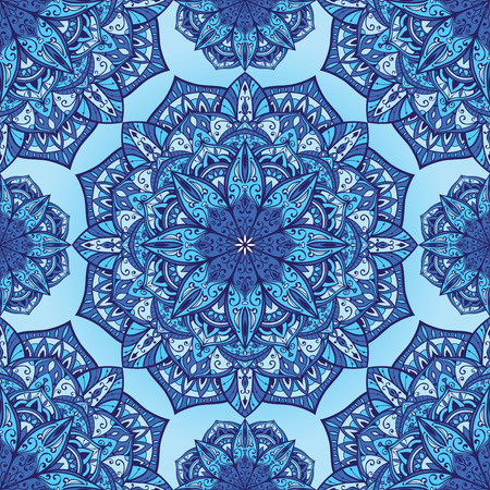 Stylized winter background with mandalas. Vector seamless oriental ornament in blue tones. Bright ornate pattern for any surface.