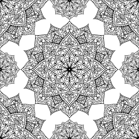 mandala: Seamless, eastern, graphic pattern of mandalas on a white background. Vector elegance ornament. Template for any surface. Stylized template for embroidery.