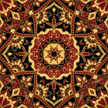シームレス、花、装飾的な背景。東、旧黄金ライン飾り。カーペットのテンプレートです。様式化された中世時代のモザイク。暗い色のオリエンタル、明るい、豊かなパターン。 写真素材 - 45068473