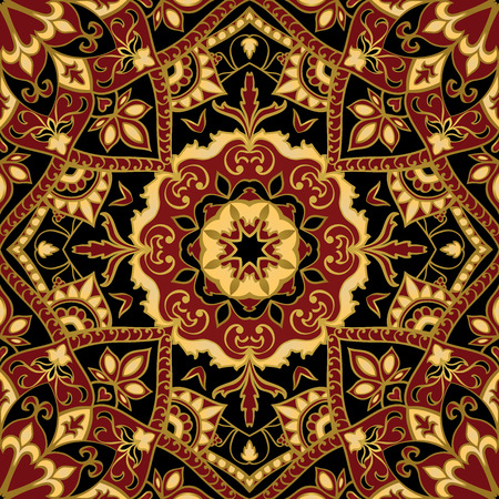Seamless, floral, ornamental background. East, old ornament with golden lines. Template for carpet. Stylized medieval mosaics. Oriental, bright, rich pattern in dark colors. Illustration